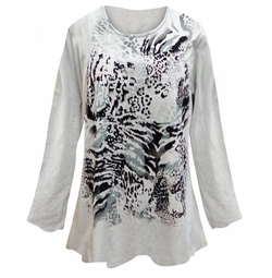 SOLD OUT! Gray Animal Print Long Sleeve Plus Size T-Shirt