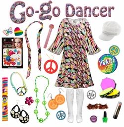 SALE! Dreamscape Print Plus Size Go-go Dancer Costume Kit Lg XL 0x 1x 2x 3x 4x 5x 6x 7x 8x 9x