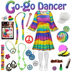 SALE! End of the Rainbow Print Plus Size Go-go Dancer Costume Kit Lg XL 0x 1x 2x 3x 4x 5x 6x 7x 8x 9x