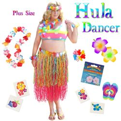 NEW! Pink & Multicolored Paper Hula Dancer Skirt Deluxe Costume Set Plus Size & Supersize Halloween Costume and Accessory Kit! Sizes Lg XL 1x 2x 3x 4x 5x 6x 7x 8x 9x