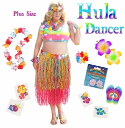 SALE! Pink & Multicolored Paper Hula Dancer Skirt Deluxe Costume Set Plus Size & Supersize Halloween Costume and Accessory Kit! Sizes Lg XL 1x 2x 3x 4x 5x 6x 7x 8x 9x