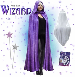 NEW! Plus Size Purple Wizard Hooded Cape Halloween Costume 1x 2x 3x 4x 5x 6x 7x 8x