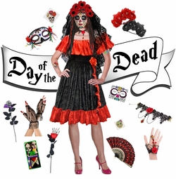 Sexy Red Day of the Dead - Dia de los Muertos Plus Size Halloween Costume Dress & Accessory Kits XL 1x 2x 3x 4x 5x 6x 7x 8x