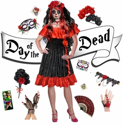 SALE! Sexy Red Day of the Dead - Dia de los Muertos Plus Size Halloween Costume Dress & Accessory Kits XL 1x 2x 3x 4x 5x 6x 7x 8x