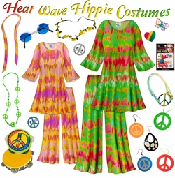 SALE! Heat Wave Print Hippie 2PC Set - 60's Style Retro Plus Size & Supersize Halloween Costume Kit Lg XL 0x 1x 2x 3x 4x 5x 6x 7x 8x 9x