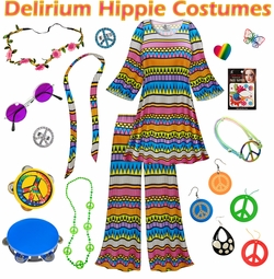SALE! Delirium Print Hippie 2PC Set - 60's Style Retro Plus Size & Supersize Halloween Costume Kit Lg XL 0x 1x 2x 3x 4x 5x 6x 7x 8x 9x