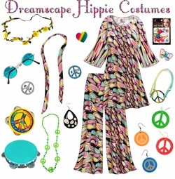 SALE! Dreamscape Print Hippie 2PC Set - 60's Style Retro Plus Size & Supersize Halloween Costume Kit Lg XL 0x 1x 2x 3x 4x 5x 6x 7x 8x 9x