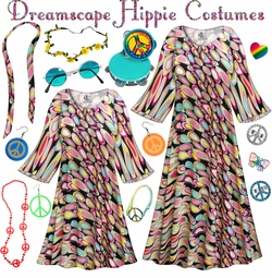 SALE! Dreamscape Print Hippie Dress - 60's Style Retro Plus Size & Supersize Halloween Costume Kit Lg XL 0x 1x 2x 3x 4x 5x 6x 7x 8x 9x