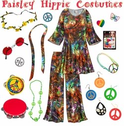 SALE! Paisley Print Hippie 2PC Set - 60's Style Retro Plus Size & Supersize Halloween Costume Kit Lg XL 0x 1x 2x 3x 4x 5x 6x 7x 8x 9x