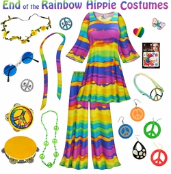 SALE! End of the Rainbow Print Hippie 2PC Set - 60's Style Retro Plus Size & Supersize Halloween Costume Kit Lg XL 0x 1x 2x 3x 4x 5x 6x 7x 8x 9x