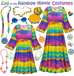 SALE! End of the Rainbow Print Hippie Dress - 60's Style Retro Plus Size & Supersize Halloween Costume Kit Lg XL 0x 1x 2x 3x 4x 5x 6x 7x 8x 9x