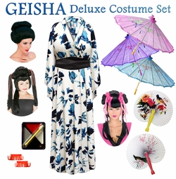 SALE! Navy & Cream Abstract Print Geisha Costume Plus Size & Supersize 0x 1x 2x 3x 4x 5x 6x 7x 8x 9x