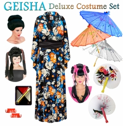 SALE! Orange Floral Print Geisha Costume Plus Size & Supersize 0x 1x 2x 3x 4x 5x 6x 7x 8x 9x
