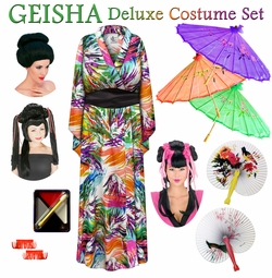 SALE! Colorful Fronds Print Geisha Costume Plus Size & Supersize 0x 1x 2x 3x 4x 5x 6x 7x 8x 9x