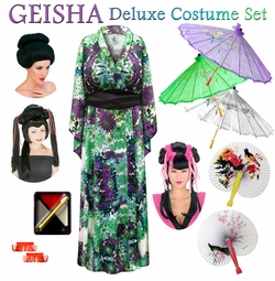 SALE! Green & Purple Floral Print Satiny Geisha Costume Plus Size & Supersize 0x 1x 2x 3x 4x 5x 6x 7x 8x 9x