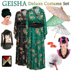SALE! Green or Black Crush Velvet Floral Print Geisha Costume Plus Size & Supersize 0x 1x 2x 3x 4x 5x 6x 7x 8x 9x