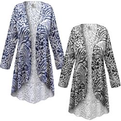 NEW! Customizable Plus Size Navy or Black Animal Print <strong>KNIT</strong> Jackets & Dusters - Sizes Lg XL 1x 2x 3x 4x 5x 6x 7x 8x 9x
