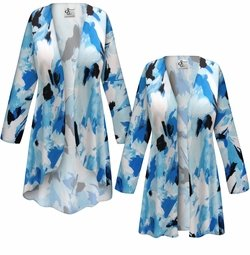 SALE! Customizable Plus Size Blue Flower Splash Slinky Print Jackets & Dusters - Sizes Lg XL 1x 2x 3x 4x 5x 6x 7x 8x 9x