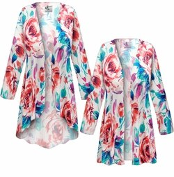 SALE! Customizable Plus Size Floral Slinky Print Jackets & Dusters - Sizes Lg XL 1x 2x 3x 4x 5x 6x 7x 8x 9x