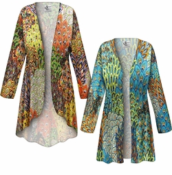 SOLD OUT! SALE! Customizable Plus Size Perfectly Peacock Slinky Print Jackets & Dusters - Sizes Lg XL 1x 2x 3x 4x 5x 6x 7x 8x 9x