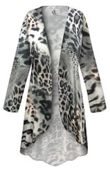 NEW! Customizable Plus Size Gray Animal Slinky Print Jackets & Dusters - Sizes Lg XL 1x 2x 3x 4x 5x 6x 7x 8x 9x