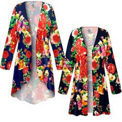 NEW! Customizable Plus Size Floral Slinky Print Jackets & Dusters - Sizes Lg XL 1x 2x 3x 4x 5x 6x 7x 8x 9x