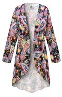 SOLD OUT! NEW! Customizable Plus Size Summer Paisley Slinky Print Jackets & Dusters - Sizes Lg XL 1x 2x 3x 4x 5x 6x 7x 8x 9x