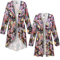 NEW! Customizable Plus Size Summer Paisley Slinky Print Jackets & Dusters - Sizes Lg XL 1x 2x 3x 4x 5x 6x 7x 8x 9x