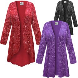 SALE! Customizable Plus Size Sparkling Red, Purple or Black Glitter Crinkle Slinky Print Jackets & Dusters - Sizes Lg XL 1x 2x 3x 4x 5x 6x 7x 8x 9x