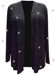 SALE! Plus Size Sparkling Black With Silver Glitter Print Jacket 2x
