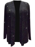 SOLD OUT! Plus Size Sparkling Black With Silver Glitter Print Jacket 2x