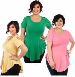CLEARANCE SALE! Plus Size Pink Green or Yellow Cold Shoulder Skater Top 4x