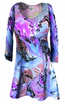FINAL CLEARANCE SALE! Lightweight Colorful Pink & Blue Marble Print Slinky Print Plus Size & Supersize Shirts XL