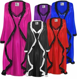 SALE! MANY COLORS!  Plus Size Customizable Wedding Night Lace Trim White Black Navy Gold Royal Lavender Purple Pink Turquoise or Silver Satin Robe & Nightgown Set 0x 1x 2x 3x 4x 5x 6x 7x 8x 9x