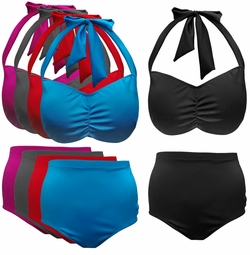 NEW! Many Colors! 2 Piece Halter Swimsuit Plus Size Supersize 0x 1x 2x 3x 4x 5x 6x 7x 8x