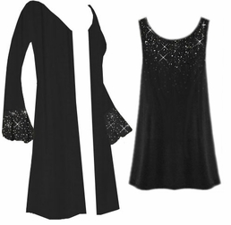 SALE! Customizable Starry Night Plus Size & Supersize Jacket & Tank Top Set With Sparkly Silver Rhinestuds! 0x 1x 2x 3x 4x 5x 6x 7x 8x 9x
