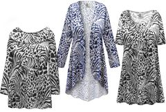 Navy or Black Animal <strong>KNIT</strong> Print - Plus Size Dresses Shirts Jackets Pants Palazzo�s & Skirts - Sizes Lg to 9x