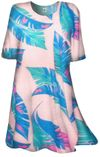 SOLD OUT! CLEARANCE! Aqua Blue & White Leaves Plus Size & Supersize Extra Long T-Shirts 3x
