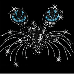 SALE! Big Blue Eyes Kitty Face Sparkly Rhinestud Rhinestones Plus Size & Supersize T-Shirts S M L XL 2x 3x 4x 5x 6x 7x 8x 9x (All Colors)