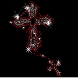 SALE! Big Red Cross On Chain With Smaller Cross Rosary Style Sparkly Rhinestud Rhinestones Plus Size & Supersize T-Shirts S M L XL 2x 3x 4x 5x 6x 7x 8x 9x (All Colors)