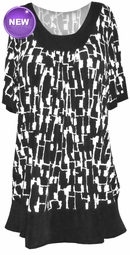 SOLD OUT! FINAL SALE! Just Reduced! Black and White Cube Block Geo Print Plus Size Tunic Top 4x 5x