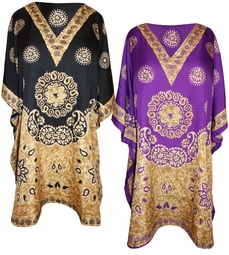 SOLD OUT! Plus Size Black & Gold or Purple & Gold Long Caftan Shirt