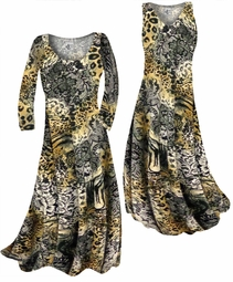 SOLD OUT! Customize Black Lace Leopard Yellow Print Slinky Plus Size & Supersize Standard or Cascading A-Line or Princess Cut Dresses & Shirts, Jackets, Pants, Palazzo's or Skirts Lg to 9x