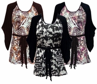 SOLD OUT! Black & White, Pink or Brown & Bronze Animal Plus Size & Supersize Flutter Sleeve Jersey Plus Size Belted Tops 5x