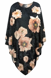 NEW! Black & Pink Floral CRUSH VELVET Print Plus Size Supersize Poncho One Size