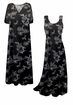 SOLD OUT! SALE! Customizable Black w/ Silver Daisies Glitter Slinky Print Plus Size & Supersize Short or Long Sleeve Dresses & Tanks - Sizes Lg to 9x
