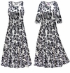 SOLD OUT! NEW! Black & White Floral With Sparkles Slinky Print Plus Size & Supersize Short or Long Sleeve Dresses & Tanks - Sizes Lg to 9x