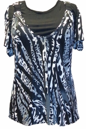 SOLD OUT! FINAL SALE! Just Reduced! Black, White & Gray Short Sleeve Double Layer Plus Size Tunic Top 5x