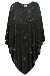 NEW! Black with Teal Glitter Waves Slinky Print Plus Size Supersize Poncho One Size