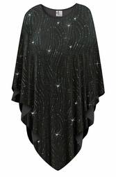 SOLD OUT! Black with Teal Glitter Waves Slinky Print Plus Size Supersize Poncho One Size